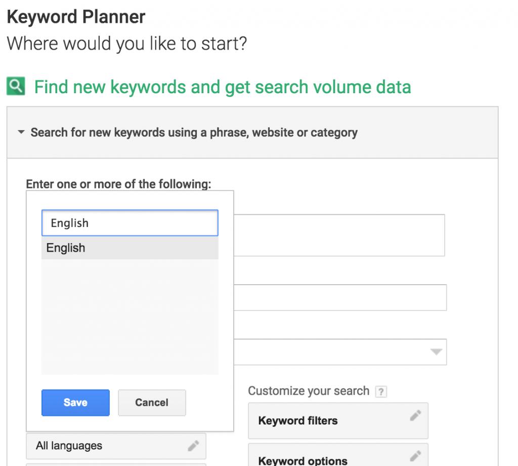 Keyword planner setup