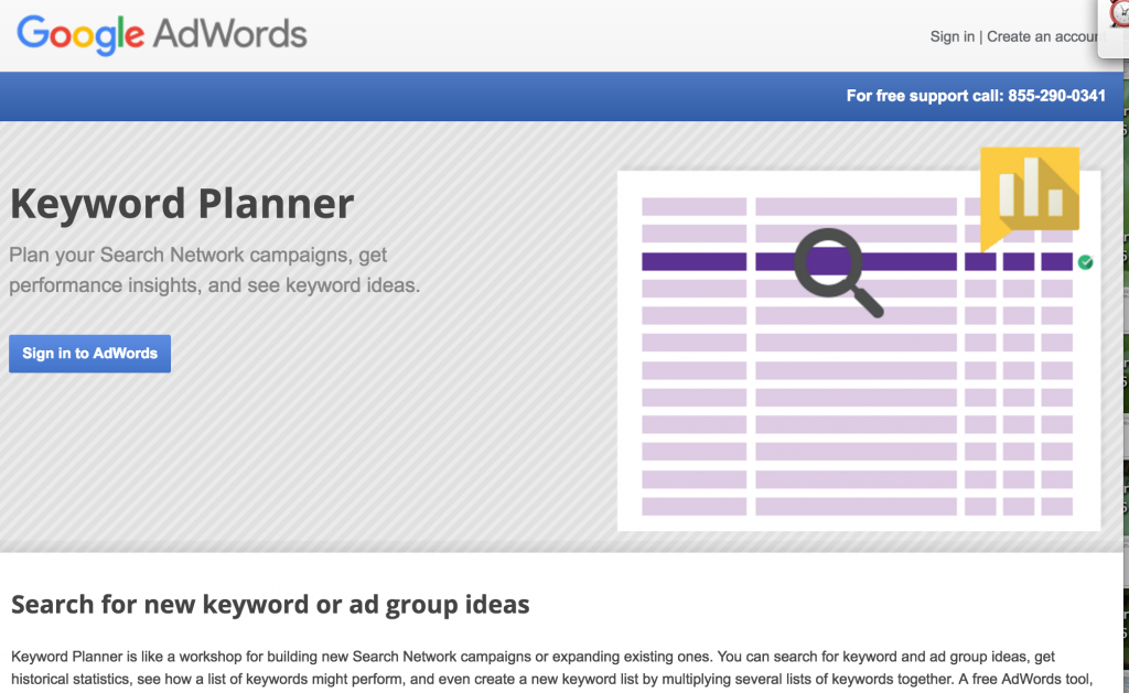 Google Keyword Planner welcome page