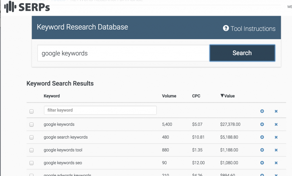 SERPs keyword search tool