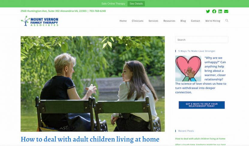 Family Therapy website design project